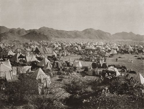 The Hajji tent camp at the tomb of Sittana Maimuna, the wife of the prophet. Makkah, Saudi Arabia 1885