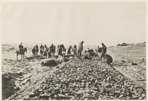 Construction of the Hejaz railroad : Ballasting the rail tracks, 1906